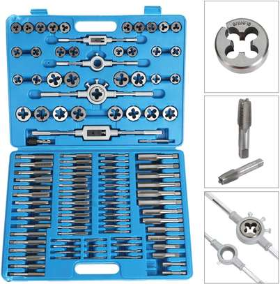 Large Tap and Die Set Metric Tap and Die Kit Rethreading Tool Kit Thread Maker Hole Threader 110-Piece Set image 2