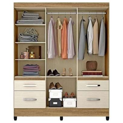 Wardrobe with 4 Doors & 4 Shelves - London Moval Wardrobe - Hazel/Oak image 3