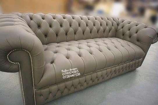 Chesterfield sofas/modern sofas/three seater beige sofas image 1