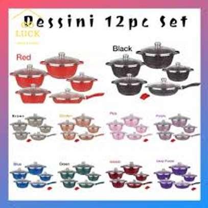 Dessini Granite Non Stick Cooking Pot Colored 12pc image 1