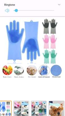 Silicone Gloves Scrubber Cleaning Gloves & Heat Resistant -A Pair {Re-usable } image 1