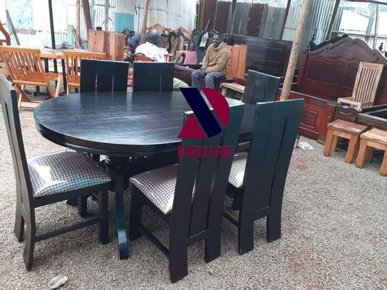 Black oval 6 seater dining table sets image 4