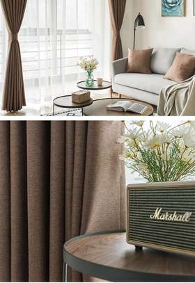 Shades of brown curtains with blending sheers image 1