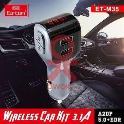 Earldom ET-M35 Dual USB Port 3.1A Wireless Bluetooth FM Transmitter MP3+ Charger Aux Audio Output Car Kit image 2