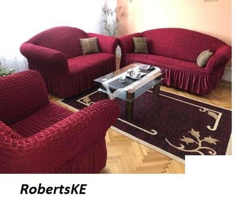 elastic seat sofa cover 5 seater maroon image 1