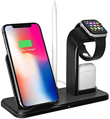 4 in 1 Qi Wireless Charger Charging Holder Stand for Apple iPhones,airpods,iPencil and iwatches 1,2,3,4,5 image 1