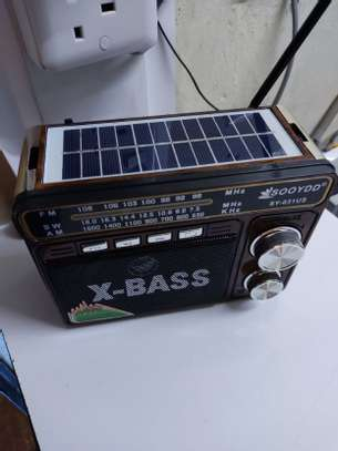 X-bass Solar FM Radio Rechargeable Battery USB/TF/SD Torch