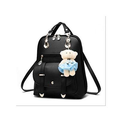 Bagsdiva Women's Casual Backpack Concise Preppy Style PU Leather Shoulder Bag with Bear Pendant,Black image 5