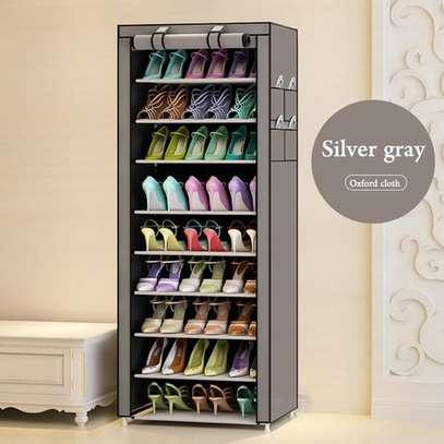 10 Tiers Non-woven Fabric Standing Shoe Rack DIY Shoes Storage Shelf Home Organizer image 1