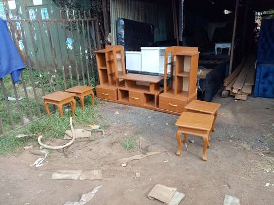 TV stand + 4 stools image 1
