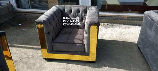 One seater sofa/gold coated one seater sofa image 1
