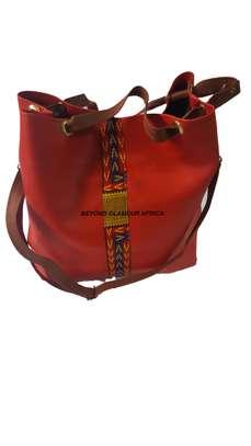 Red Ankara Leather Handbag image 1