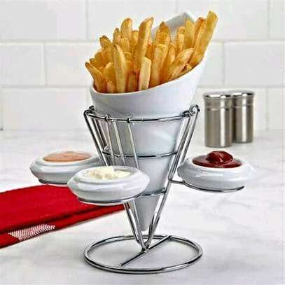 Ceramic chips cone with 3 sauce plates and stand image 1