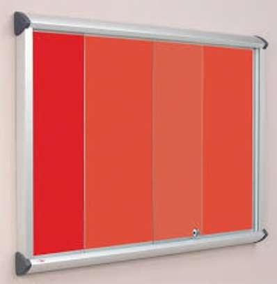 Glass sliding notice board. image 1
