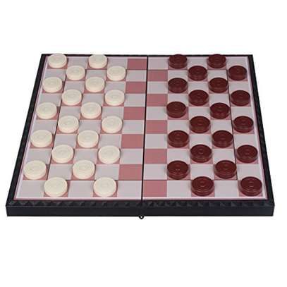 Family Magnetic Draught Riddle Checkers Board Game image 1