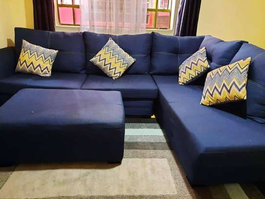 L shaped 7 seaters sofa with1 meter foot rest stool image 3