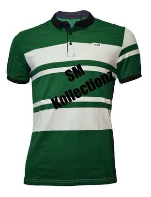Green Striped Fitting Polo T- Shirts