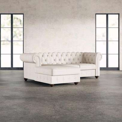 Latest Chesterfield sofas for sale in Nairobi Kenya/Off-white Chesterfield L shaped sofas image 1