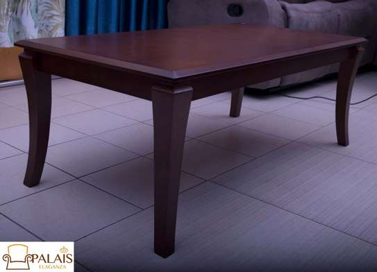 Coffee table almond brown sleek legs image 2
