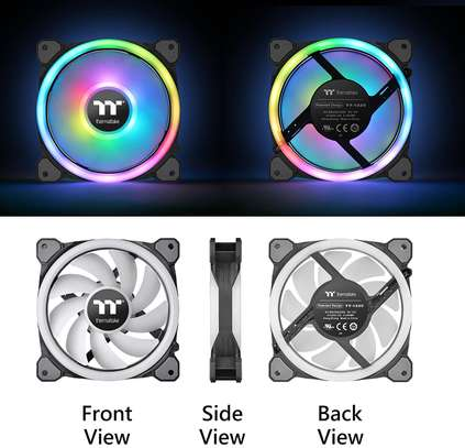 Thermaltake Riing Trio 12 RGB TT Premium Edition 120mm Software Enabled 30 Addressable LED 9 Blades Case/Radiator Fan - 3 Pack image 3