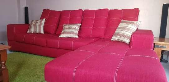 L-Shaped Red Sofa Set image 3