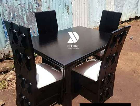 Black 4 Seater Dining Table. image 2
