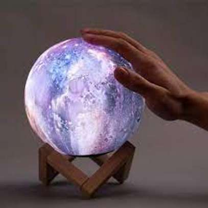18cm Moon Lamp Kids Night Light Galaxy Lamp 16 Colors LED 3D Star Moon Light with Wood Stand, Remote & Touch Control USB image 1