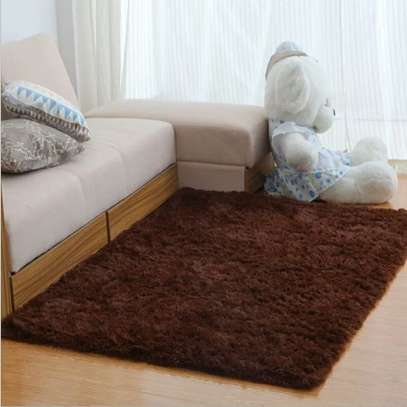 chocolate brown fluffy carpet image 1