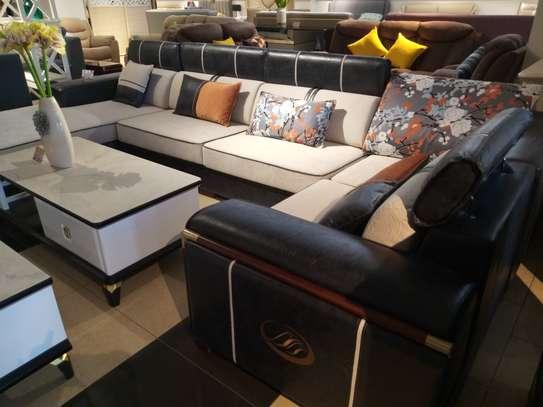 Fabric & leather corner sofa image 3