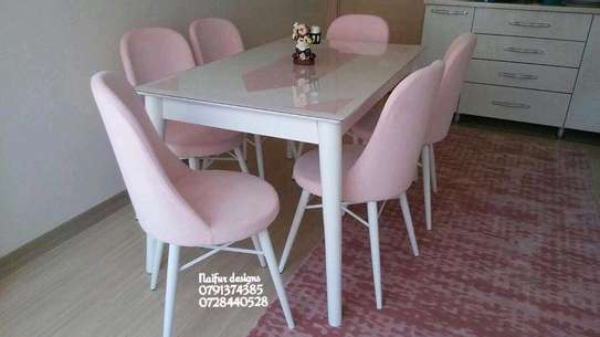 Six seater dining set/pink dining chairs image 1