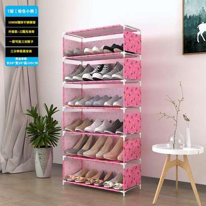 18 pairs Fashion shoes 7 rows made of steel thickened tube shoe rack