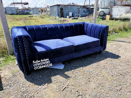 Blue sofas/three seater sofa/modern stripped sofas image 4