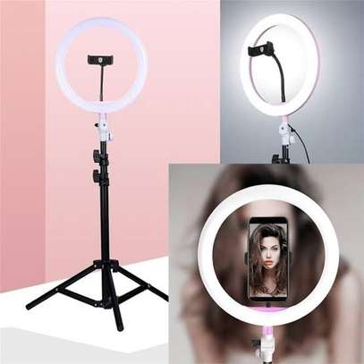 Photography Led Tiktok Ring Light 26cm Metal Frame Dimmable With 8 Ft Tripod image 3