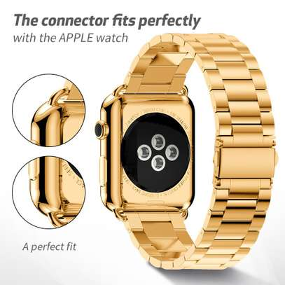 Stainless Steel Three-bead strap For Apple Watch 42mm 38mm 1/2/3/4 Metal Watchband Bracelet Band image 4