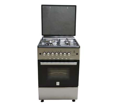 Mika Standing Cooker, 58cm X 58cm, 3 + 1, Electric Oven, Silver