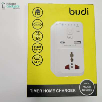 Budi 12W 2.4A 1 USB 1 Type-C Safety Timer Charger Phones Tablets UK 3pin image 2