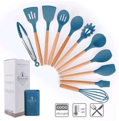 12pc Silicon cooking tools/Nonstick serving spoons/Cooking spoons image 3