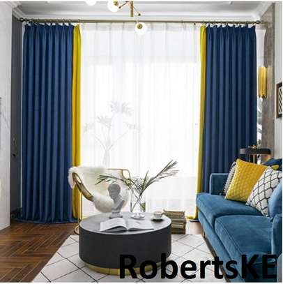 blue linen decorative curtain image 1
