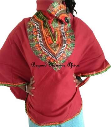 Dashiki Print Maroon Poncho Super Soft Cotton image 1