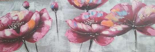 Purple flowers on canvas painting