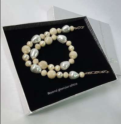 White Handmade  Bead Stretchable Bracelet Multi Strand Necklace Jewelry Set Women Gifts image 2