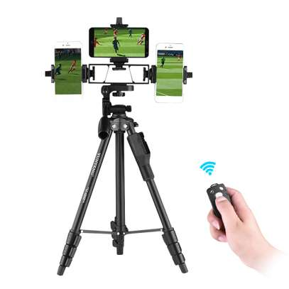 YUNTENG VCT-6808 Multi-functional Tripod for Phone with 3 Phone Holders 4-Section Telescoping Tripod Ball Head Remote Controller image 2