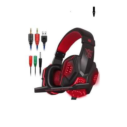 Gaming Headset with Mic and LED Light for Laptop Computer, Cellphone, PS4 ,3.5mm Wired Volume Control image 2