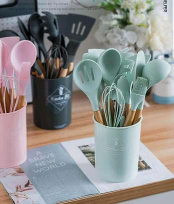 12pc Silicon cooking tools/Nonstick serving spoons/Cooking spoons image 6