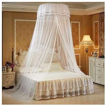 Round Mosquito Net Free Size For Double Decker And All Types Of Beds - White