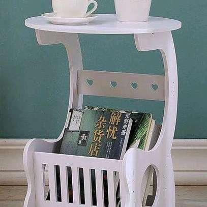 Multi-purpose bedside/balcony/magazine holder/coffee/living room white round table image 2