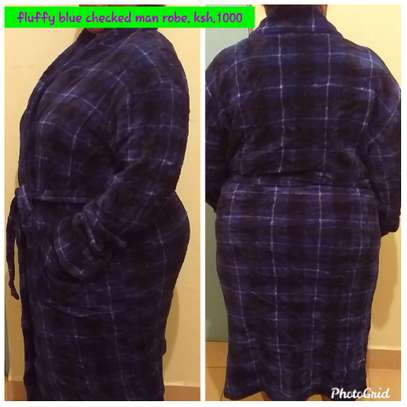 Fluffy Blue Checked Man Robe