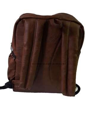 Brown with Ankara Strip Laptop Bag image 2