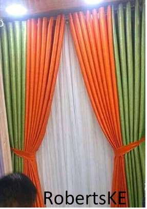polycotton orange and green curtain image 1