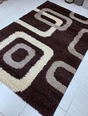 Turkish shaggy carpets brown and black image 1
